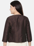 Chocolate Brown, linen silk short jacket with hand running stitch embroidery  - ASJ032 - Asmi Shop