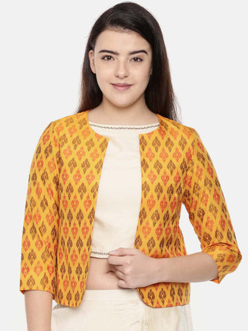 Yellow,Ikat Silk short jacket - ASJ036