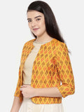 Yellow,Ikat Silk short jacket - ASJ036 - Asmi Shop