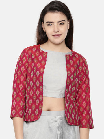 Pink, Ikat Silk Short Jacket - ASJ037