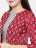 Pink, Ikat Silk Short Jacket - ASJ037 - Asmi Shop