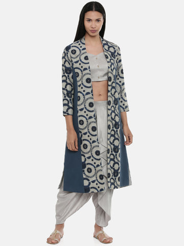 Blue,Chanderi/Cotton Satin,long jacket  - ASJ043