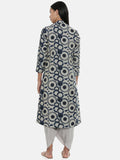 Blue,Chanderi/Cotton Satin,long jacket  - ASJ043 - Asmi Shop
