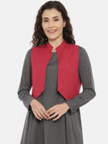 Red Cotton Pleated Open Short Jacket  - ASJ055