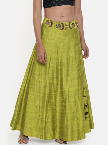 Neon Green,cotton silk slub lehenga - ASL002