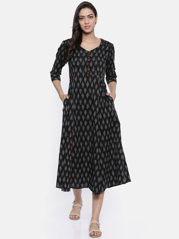 Black Ikat Dress-AS049