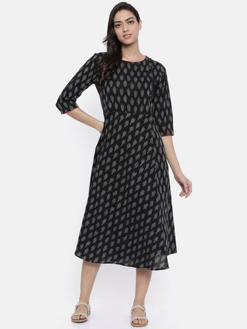 Black Ikat Bias Dress-AS064