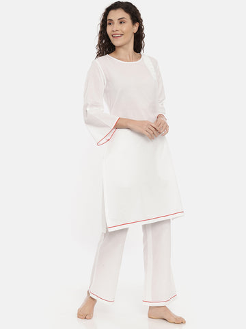 White Cotton Nightwear - ASNW003