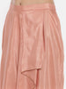 Peach Silk Linen Pleated Skirt  - ASSK001