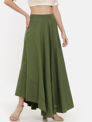 Green Cotton Asymmetrical Skirt  - ASSK003