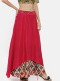 Pink Cotton Silk Embroidered Skirt  - ASSK004