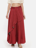 Red Cotton Asymmetrical Skirt - ASSK005