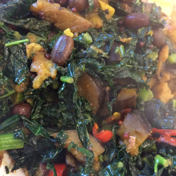 Curried Aubergine, Cavelo Nero & Adzuki Beans