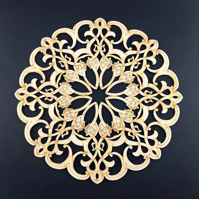 Decorative Laser Cut Wood Work Craft Center Piece Ornament (O-017)