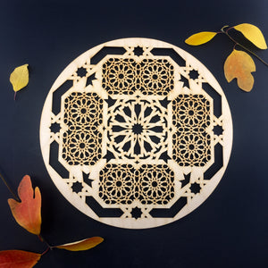 Decorative Laser Cut Wood Work Craft Center Piece Ornament (O-034)
