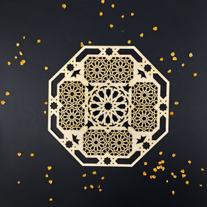 Decorative Laser Cut Wood Work Craft Center Piece Ornament (O-039)