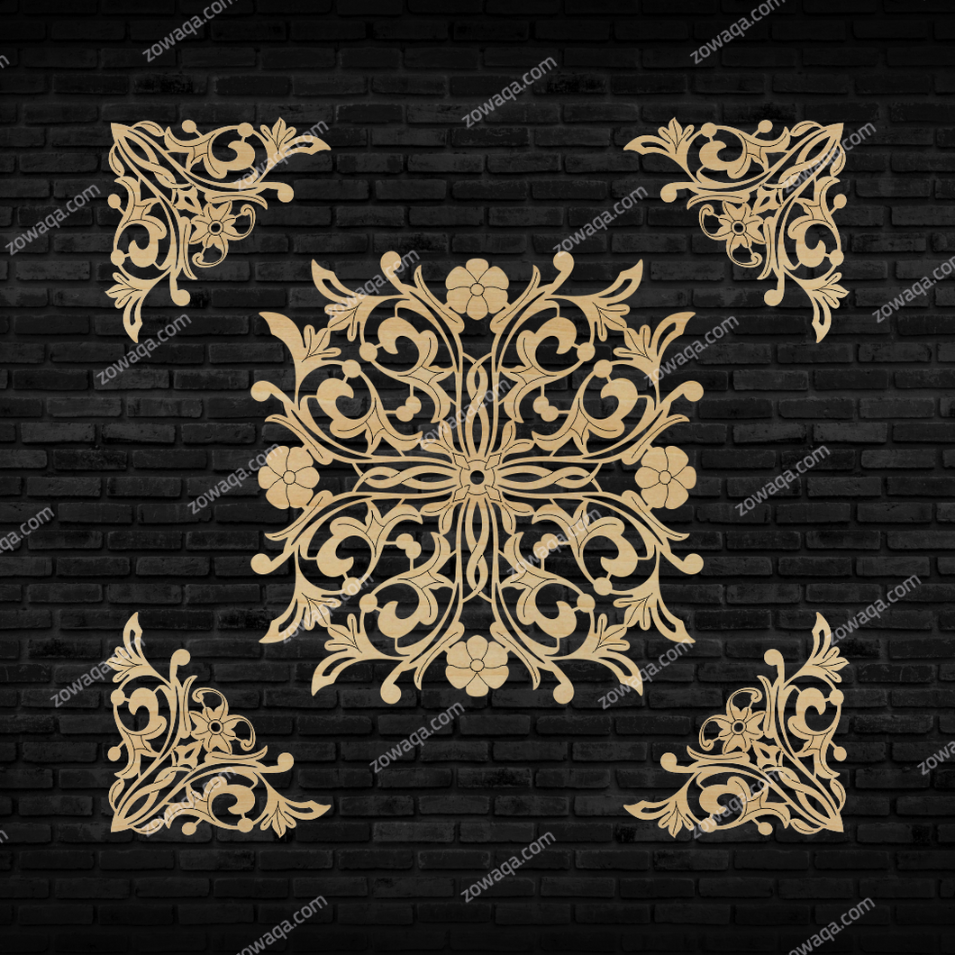 Decorative Laser Cut Wood Work Craft Center Piece Ornament (O-053)