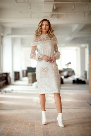 Ruffle Ivory Beaded Dress