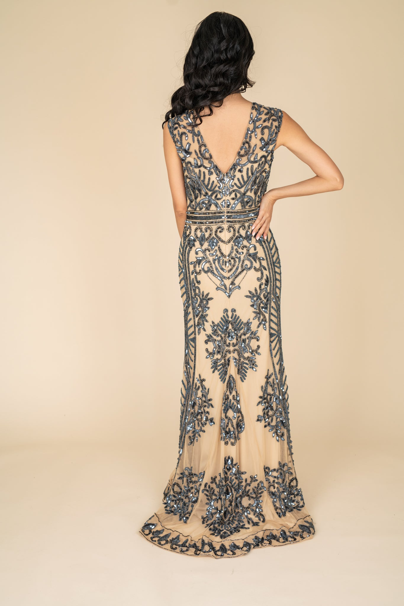 Sweep Train Sequined Gown