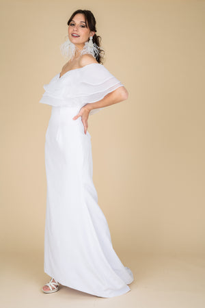 Shoulder less Train Gown
