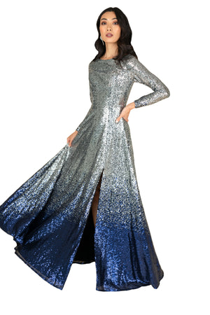 Front Slit  Sequins Gown