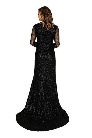 Sequins Slit Train Gown