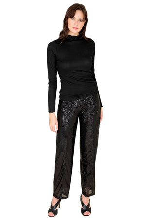 women high-rise sequins pant