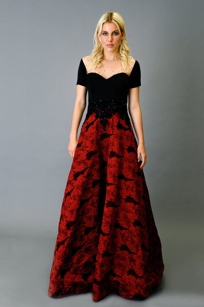 3D Brocade Skirt Gown