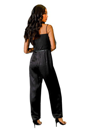 black silk jumpsuit