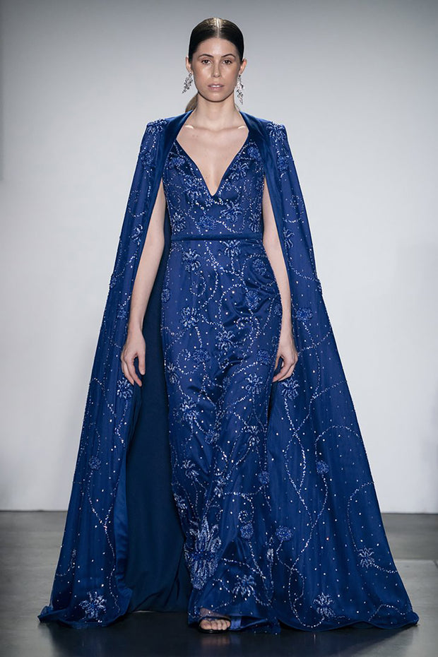 Sapphire Blue Shawl and Fitted Gown