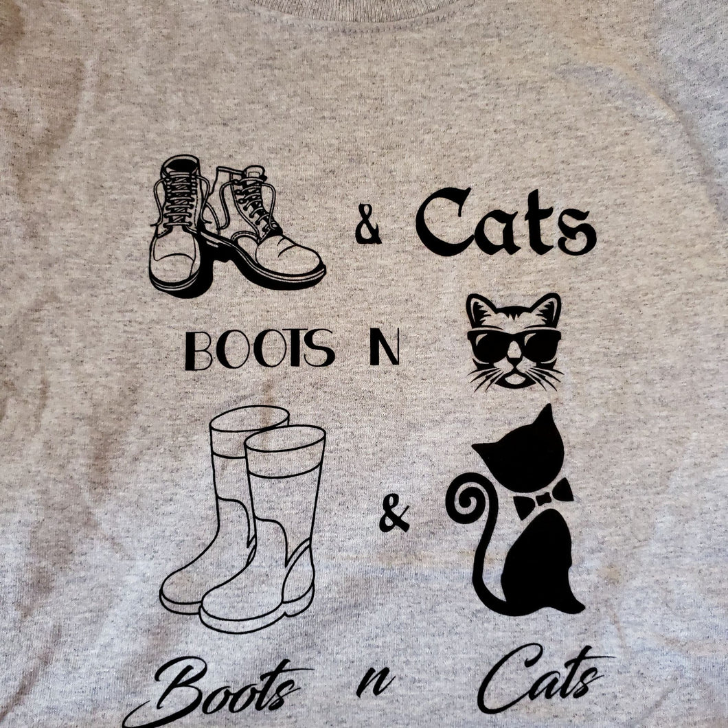 Boots & Cats Tee - Black Ink