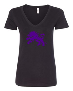 Ladies V-Neck Black-1 Color Logo