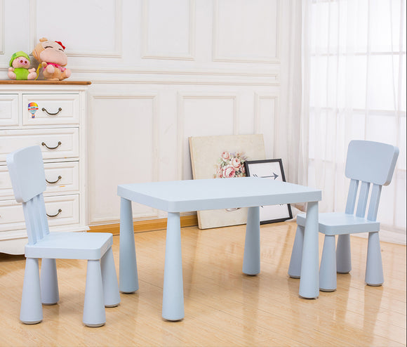 () Kids Table & 2 Chair, Light Blue (PF-011)