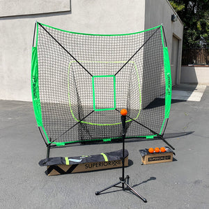 (C5) Baseball Net & Tee Set, Green (BNetTee-Green)