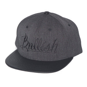 Black & Dark Grey Embroidered Bullish Leather Snap back Retro Flat Bill, PU Premium Leather Bill, 6-Panel, One Size Fits All