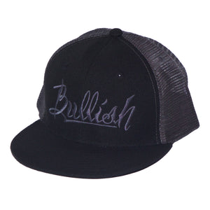 Black & Dark Grey, 6-Panel, Embroidered Bullish Logo, Contrast trucker mesh, Retro flat bill, Insulated rear panel mesh, Snapback closure, One size fits all, 50% Cotton & 50% Nylon