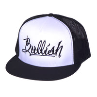 Black, White & Black: 6-Panel, Embroidered Bullish Logo, Contrast trucker mesh, Retro flat bill, Insulated rear panel mesh, Snapback closure, One size fits all, 50% Cotton & 50% Nylon