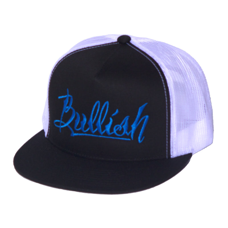 Black, Blue & White: 6-Panel, Embroidered Bullish Logo, Contrast trucker mesh, Retro flat bill, Insulated rear panel mesh, Snapback closure, One size fits all, 50% Cotton & 50% Nylon