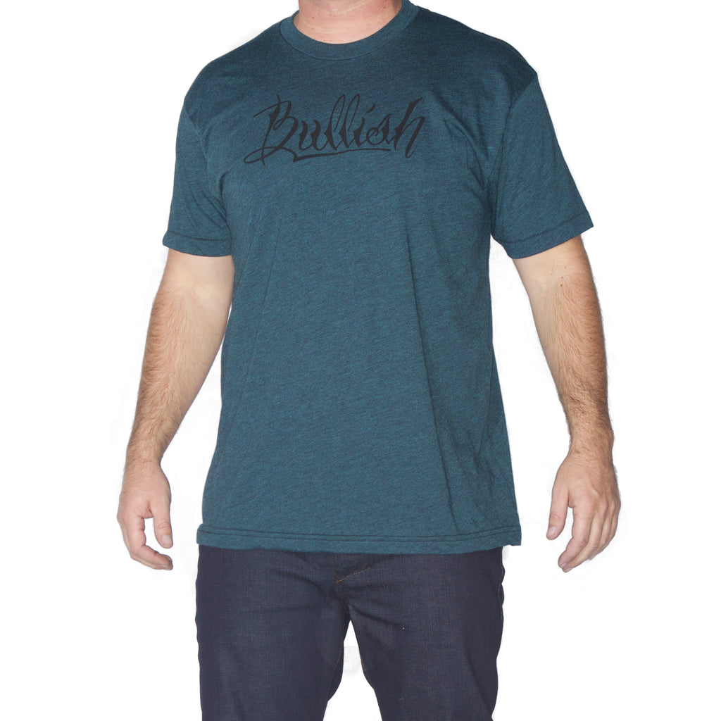 50/50 Poly/Cotton Super Soft fitted American Made Black Aqua Bullish T-Shirt