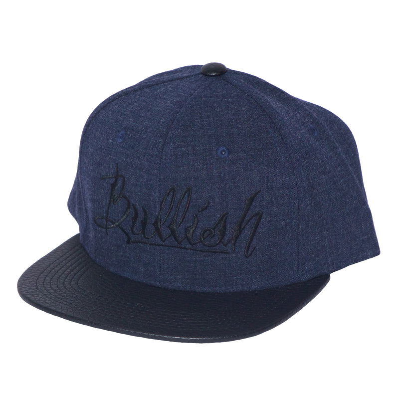 Black & Dark Blue Heather Embroidered Bullish Leather Snap back Retro Flat Bill, PU Premium Leather Bill, 6-Panel, One Size Fits All