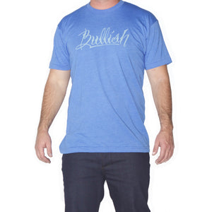 50/50 Poly/Cotton Super Soft fitted American Made Blue Heather Bullish T-Shirt