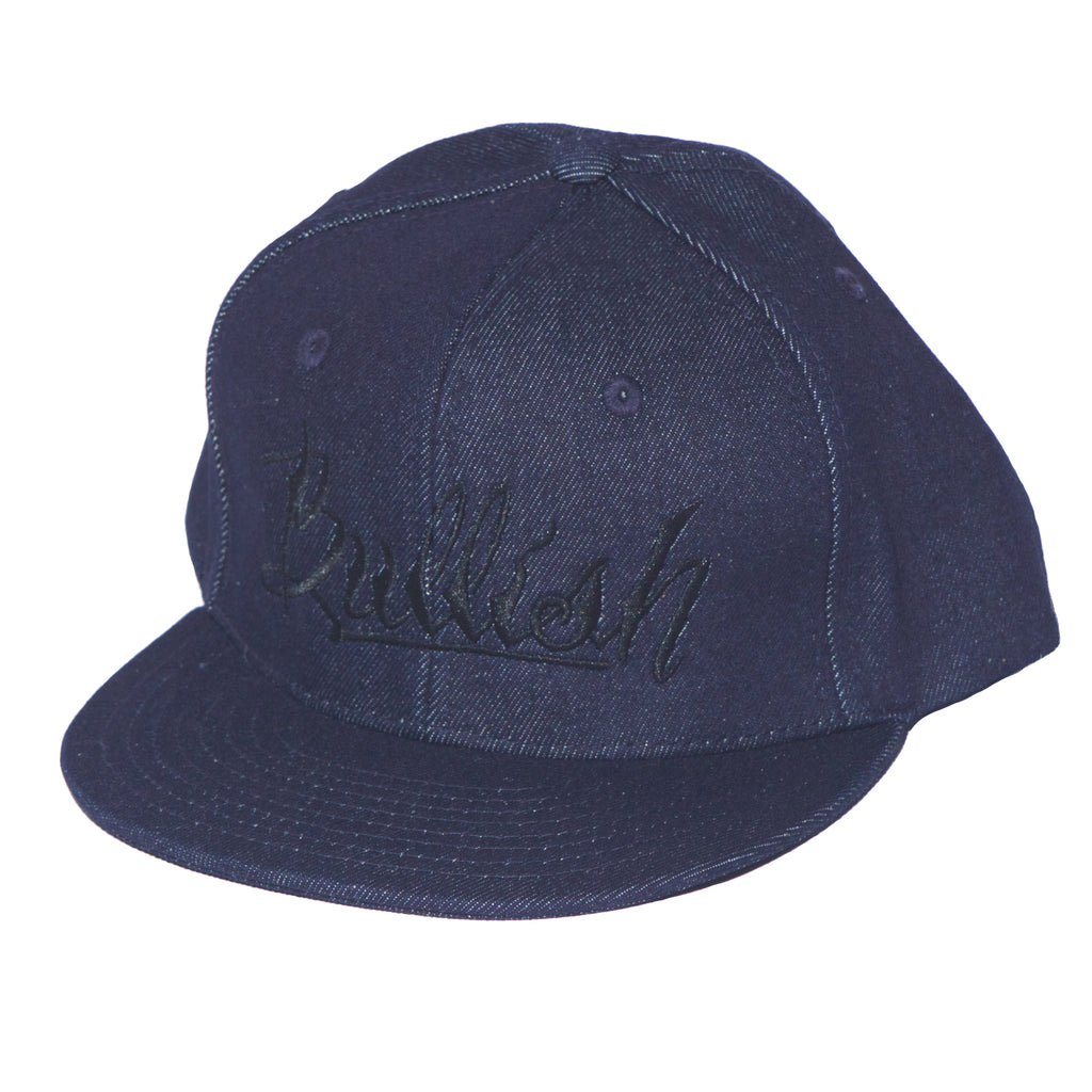 Denim & Black Embroidered Bullish Snap back Retro Flat Bill, 6-Panel, One Size Fits All