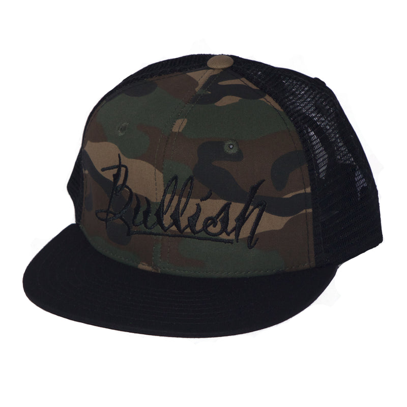 Black & Green Camo, 6-Panel, Embroidered Bullish Logo, Contrast trucker mesh, Retro flat bill, Insulated rear panel mesh, Snapback closure, One size fits all, 50% Cotton & 50% Nylon