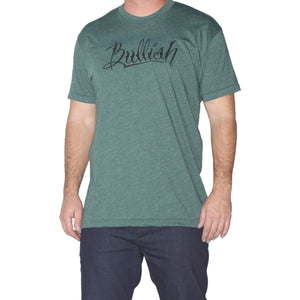 50/50 Poly/Cotton Super Soft fitted American Made Green Heather Bullish T-Shirt