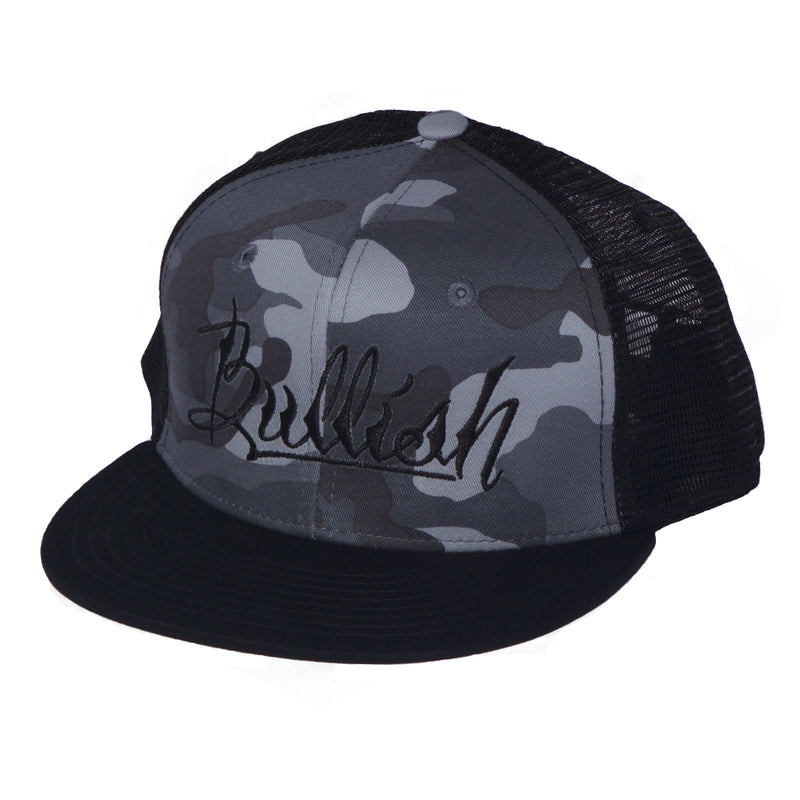 Black & Grey Camo, 6-Panel, Embroidered Bullish Logo, Contrast trucker mesh, Retro flat bill, Insulated rear panel mesh, Snapback closure, One size fits all, 50% Cotton & 50% Nylon