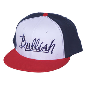 Red, White & Blue Embroidered Bullish Snap back Retro Flat Bill, 6-Panel, One Size Fits All