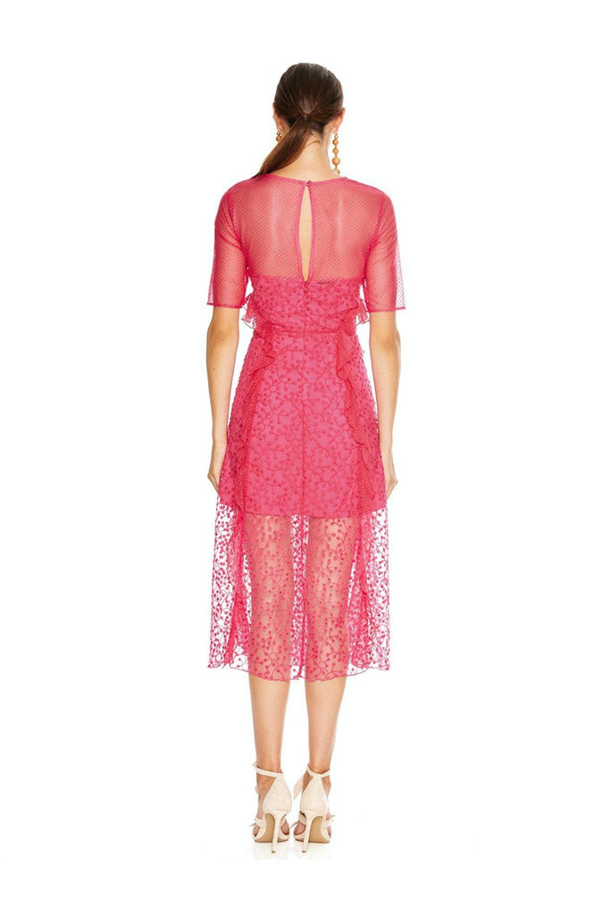 Fuscia Delight Midi Dress