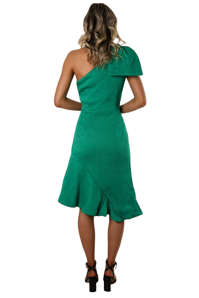 Fontana One Shoulder Dress Emerald