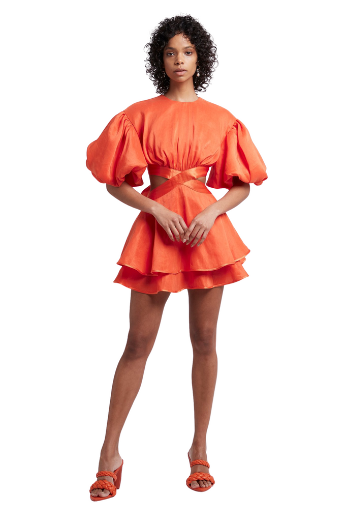 AJE Gracious Cut Out Mini Dress Saffron