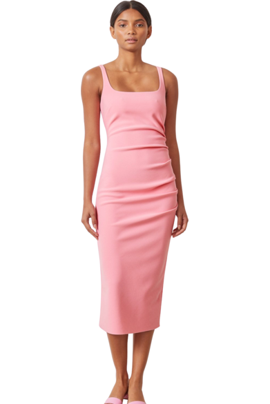 Hire Paloma Midi Dress Flamingo by Bec & Bridge